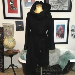 Jackets & Blazers - EMU Australia black wool trench coat sz m